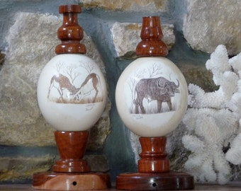 Vintage Scrimshaw Ostrich Eggs, TWO Ostrich Eggs on Stands - Display or Wire as Lamps