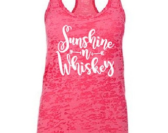 "Sunshine & Whiskey"" Country shirt tank fitness tank,drinking tank top,whiskey girl,Southern Girl,Southern Pride,Whiskey Tank ,Country Tank"
