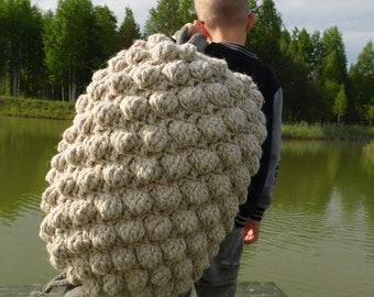 Knitted pillow, Floor pillow, rustic home decor, handwoven pillow, bobble sheep pillow, designer pillow, folding pillow, gift