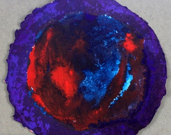Red Blue Abstract Art Watercolor Painting Ink Painting