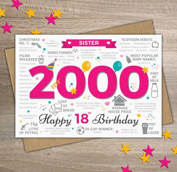 Happy 18th Birthday SISTER Greetings Card Born In 2000 Year