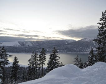 Snowy Lake at Sunset