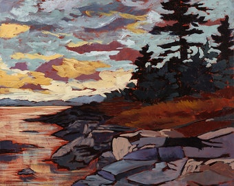 "Algonquin park, Sunset, Skyscape, Interior Design, Fine Art Reproduction, Original Acrylic Painting, Giclee, ontario, 12 x 12"" to 30 x 30"""