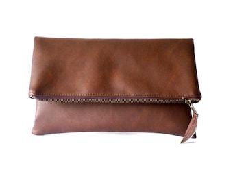 Vegan leather clutch, Leather clutch purse, Chocolate brown clutch, Zipper clutch, Foldover clutch, Evening handbag clutch purse