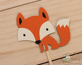 Fox Party Cupcake Toppers, Fox Birthday Party, Fox Baby shower, Fox theme party, Handmade Cupcake Toppers