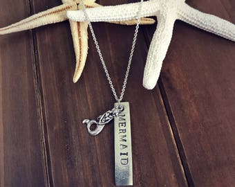 Mermaid hand stamped necklace, mermaid necklace, bar necklace, beach jewelry, mermaid necklace