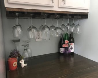 UNDER CABINET Mounted Rustic Wood Wine Rack | Hanging Stemware Glass Holder Organizer Bar Unique Cabinet Mounted