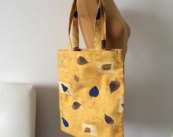 Upcycled Tote Bag Beige Leaves Print Shopping Bag Grocery Zero Waste OOAK (05)