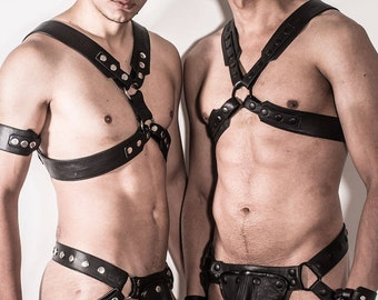 Leather X-men Chief Harness with Black or Silver Metal
