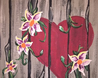 Where Love Grows, fence, heart, flowers, lilies, small art, painting, desktop art, love, valentine's day, hand-painted, unique, artwork, art