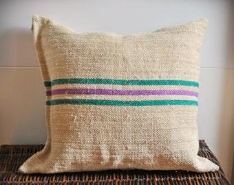 Vintage Authentic Grain Sack Pillow Cover/Antique hemp linen/Gren and Purple Stripes/Handmade Pillow Sham