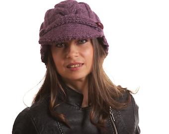 Jockey Purple Cap, newsboy hat, Knit Cap, Knit Hat by Solandia, Knitted Hat, Christmas Gift, Purple Winter Warm Hat, Knitted gift