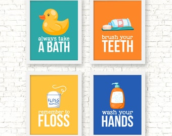 Bathroom rules art prints, kids bathroom decor, wash your hands, brush your teeth, remember to floss, wash your hands, kids decor, G-4032