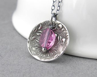 Pink Tourmaline Necklace Sterling Silver Pendant Necklace Silver Necklace Crystal Jewelry Unique Handmade Jewelry Gift for Women - Contrast