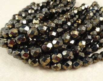 Czech Glass Beads, 6mm Fire Polished Faceted Beads, 6mm Faceted Round Beads - Jet Black with Bronze Metallic (FP6/SM-BT2398) - 6mm - Qty 25