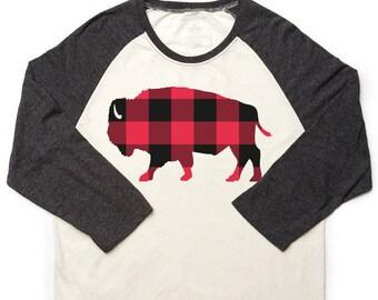 Buffalo Plaid NY 716 Raglan Shirt Buffalove Momma Mommy Poppa