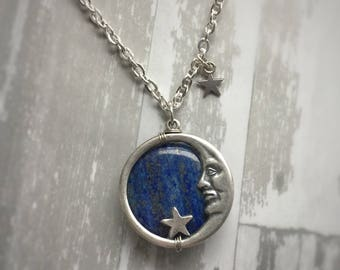 Lapis Lazuli Moon Face Necklace, Made to order