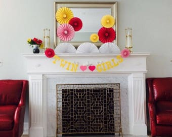 Lemonade Birthday Party | Paper Rosettes | Lemonade Party Decor | Backdrop Decor | Pink and Yellow Party Fans