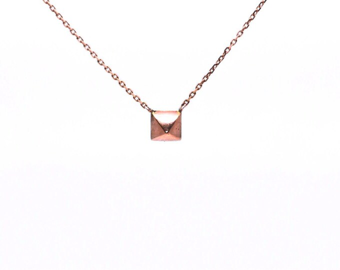 Rose or Yellow Gold Pyramid Necklace