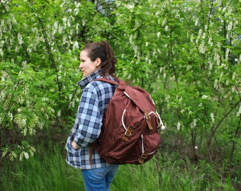 USSR Hiking Rucksack / Classic Large Brown Canvas Soviet Vintage Travel Backpack / 1970's Light Synthetic Camping, Explorer Bag, VEGAN
