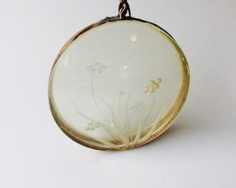 Vintage Plastic & Copper Metal Hanging Ornament With Flowers/Vintage Home Decor/Kitchen Window Decor/Suncatcher