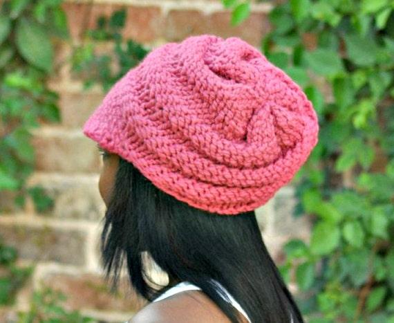 Knit Hat Pink Womens Hat Pink Newsboy Hat - Swirl Beanie with Visor in Raspberry Pink Knit Hat - Pink Hat Pink Beanie Womens Accessories