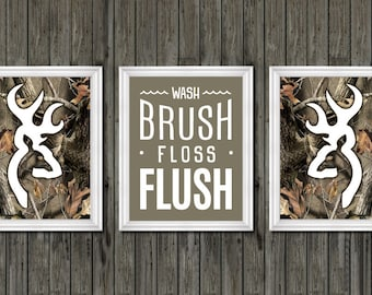 Camo bathroom decor, browning, realtree, deer bathroom decor, wash brush  floss flush