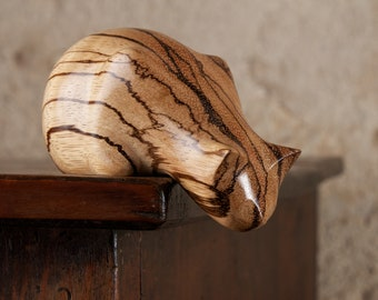 Wooden Peeping Tom Cat Sculpture Carved From Zebrano Zebrawood by Perry Lancaster, Stripy Cat Figurine Statue