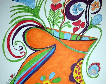 Mandarin Orange Delight ~ One of A Kind ~ Ink Painting ~ One of a Kind!