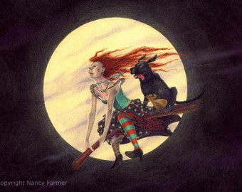 Dog on a Broomstick - giclee print - witch, wicca, halloween, farytale magic.