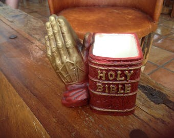 Vintage hand painted Inarco praying hands and Holy Bible planter- Japan