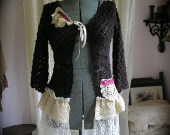 Bohemian Brown Sweater, lace doily boho clothing, brown crochet sweater, altered couture clothing, lace embellished sweater, MEDIUM