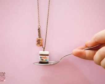 Nutella Inspired Pendant Necklace/Dollhouse Miniature / Nutella and Bread / Kawaii Jewelry / Miniature food /  Food Jewelry / Fake Food