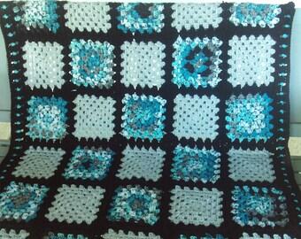 Afghan,blanket,black,teal,gray,gift,adults,teens,seniors,crochet