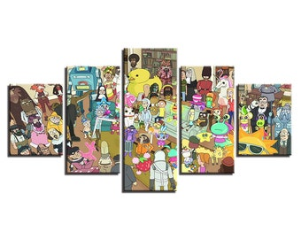 Canvas HD Prints Posters For Living Room 5 Pieces Rick And Morty Paintings Modern Anime Characters Pictures Wall Art
