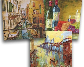 3 Decoupage Napkins Serviette, Venice, 33x33 cm, 13Inch, Used for Collage, Scrapbooking, Mixed Media, Decoupage