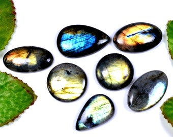 30% OFF SALE 7 Pieces Lot Natural Labradorite  Cabochons, 190 Cts Gemstone Cabochon Wholesale Price Loose Gemstone, Smooth Assorted Lot