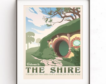The shire poster. The lord of the rings. Hobbiton retro travel. The hobbit film. Middle earth. Tolkien illustration. Bilbo bolson. LOTR