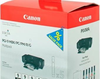 Multipack pigmented ink gunmetal black (MBK) / Cyan / Magenta / red / green / 5 cartridges Pgi-9: MBK + Pc + Pm + R + G PIXMA PRO9500