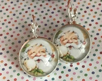 Père Noël verre boucles d'oreilles cabochon - 16mm