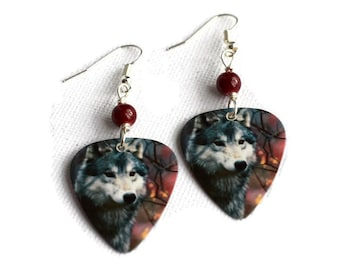 Wolf Earrings, Wolf Jewellery, Guitar Pick Jewelry, Wolf Pick Earrings, Alternative Earrings, Animal Earrings, Animal Jewellery, Guitar Pick