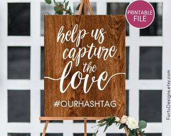 Wood hashtag sign Wedding hashtag sign Custom hashtag sign Custom hashtag wood Printable hashtag INSTANT DOWNLOAD Help us capture the love