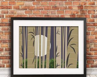 Bamboo wall art, nature print, neutral decor, bamboo home decor, brown decor, arashiyama art, nature wall decor, housewarming gift