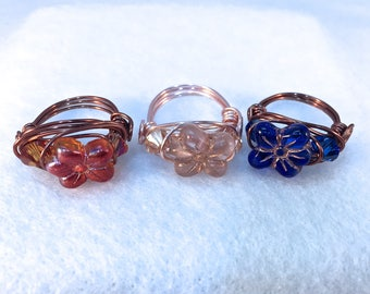 Flower Ring, Czech Glass, Wire Wrapped Ring, Non Tarnish, Craft Wire, Puffy Flowers, Choice of Wire, Choice of Color
