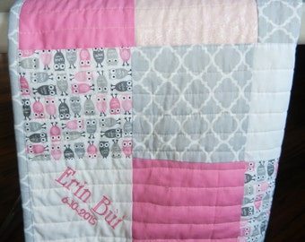 Pink or Turquoise, gray, white baby quilt, Owls Personalized