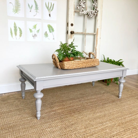 Large Gray Coffee Table - Farmhouse Furniture - Rectangular Cocktail Table -  Country Cottage Furniture - Distressed Furniture