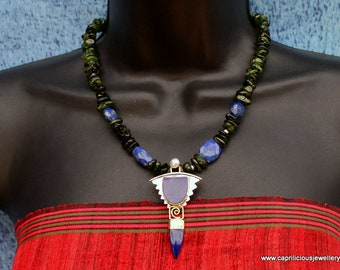 Sophisticated necklace, lapis lazuli, sterling silver, green and blue, .925 silver, art deco pendant, Chromium Diopside, Gift for her,