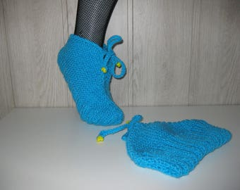 turquoise woman wool slippers
