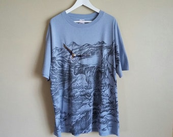 Vintage 90s Light Blue All Over Print Eagle in Wilderness Mountain Scape XL T-Shirt. Embroidered Eagle. 'Delta'. Made in USA.