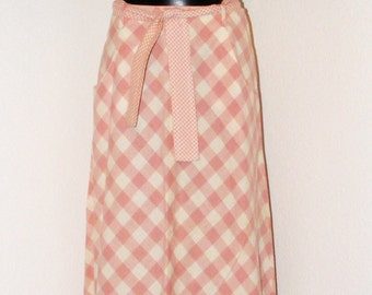Vintage 1970s Pink & White Checkered Print Skirt by Sequel 1